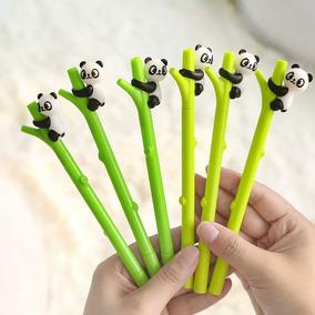 1 Caneta Fofa Kawaii Panda Bambu Tinta Gel Preta Unidade