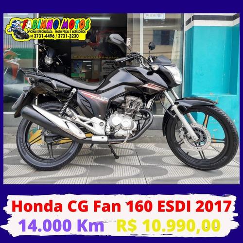 Honda Cg 160 Fan Esdi 2017 Preta Novíssima!!!