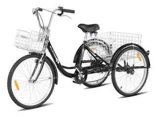 Bicicleta De 3 Ruedas Triciclo Adulto R26 Envio Gratis Negro
