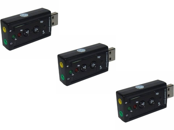 Kit 3 Placa De Som Usb 7.1 Canais Adaptador Audio Fone