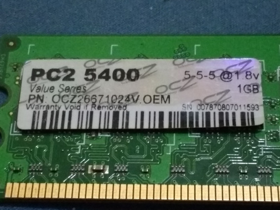 Memoria Ram Ddr2 1gb Ocz Value Series Pc2-5300 1.8v Pc