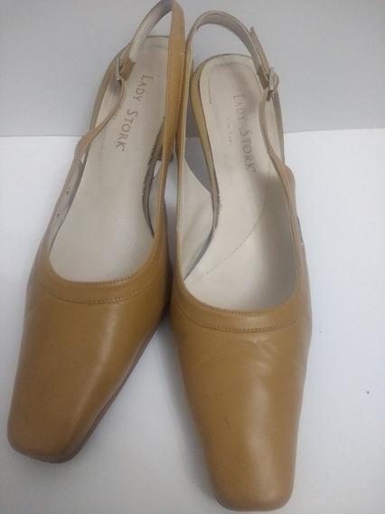 Zapato Con Pulsera Sandalia Cuero Camel Lady Stork