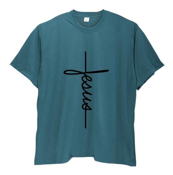 Camiseta Camisa Masculina Fé Gratidão Jesus Plus Size Ao G6