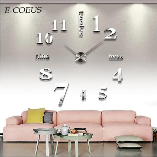 Reloj De Pared 3d Tamaño Grande Color Platiado