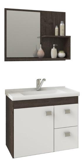 Gabinete Banheiro Hortência Com Pia E Espelheira Café/br