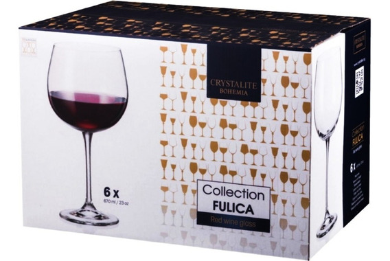 Copa De Vino Tinto Cristal Bohemia Set X 6 X 670ml.