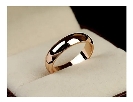 Anel Feminino Masculino Casamento Italiano Banhado Ouro 18k