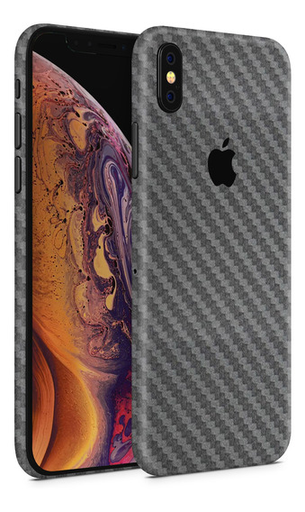 Skin Fibra Carbono Gris Para Telefonos Apple iPhone