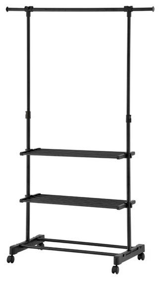Rack P/ Ropa Organizar Acero Plastico Negro 2 Repisas Namaro