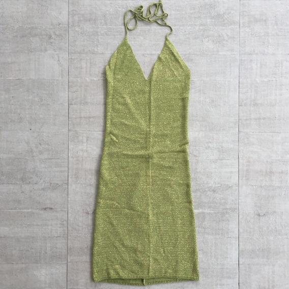 Vestido De Lurex Tricot Carmim Verde Oliva