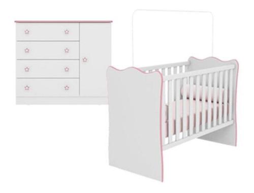 Quarto Bebê Com Berço E Cômoda Alegria Baby Branco Rosa