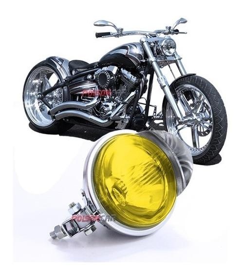 Farol Auxiliar Cromado Fusca Moto Triciclo Carro Com Pestana