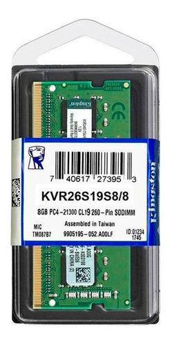 Memoria Ram Sodimm Notebook Kingston Ddr4 8gb 2666mhz