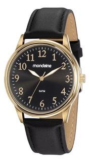 Relógio Masculino Mondaine Dourado Pulseira Couro + Nf