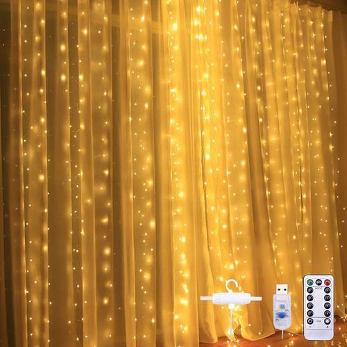 Imagen 1 de 8 de Cortinas Serie Luces 300 Led Decorativas Usb 8 Modos 3x3m