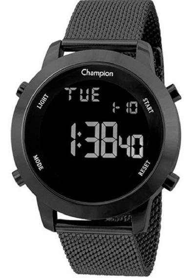 Relógio De Pulso Champion Digital Preto Fundo Negativo Lançamento Mod Ch40062d