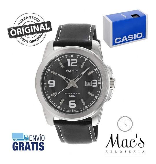 Reloj Casio Mtp1314l-8a Piel Negra Caratula Grande Fondo Neg