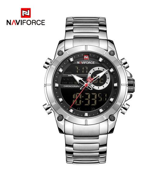 Relógio De Quartzo Masculino Naviforce Pulseira De Aço Inoxi