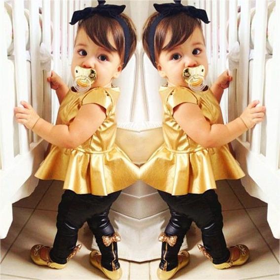 Promoção Conjunto Infantil Menina Bebê Estilosa Dourado