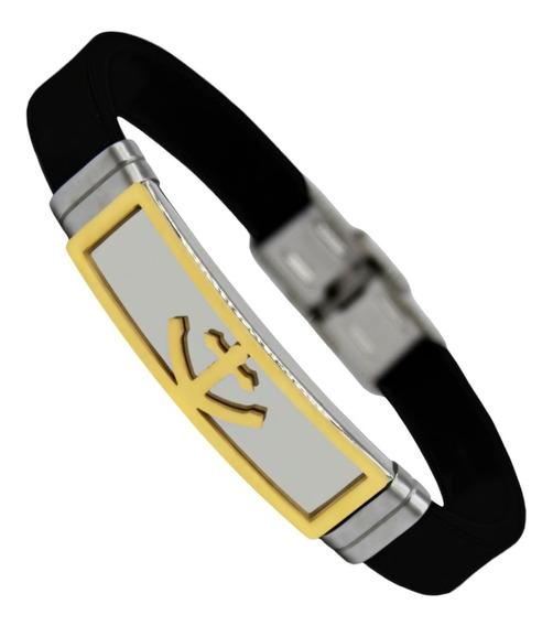 Pulseira Bracelete Masculino Silicone Âncora Banhado Ouro