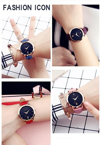 Relógio Elegante Importado Feminino Casual Luxo Couro