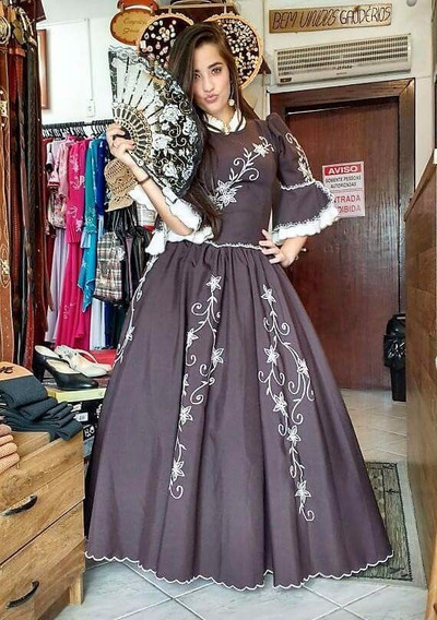 Vestido De Prenda Marrom Gaúcho Baile Invernada Bordado