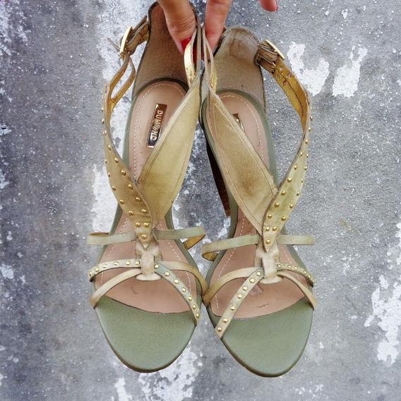 Sandália Verde Com Dourado Dumond