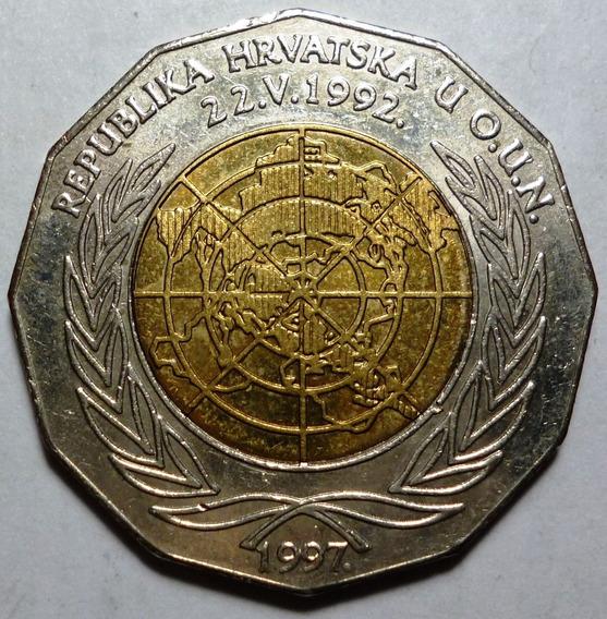 Croacia Moneda Bimetalica 25 Kuna 1997 Unc 5º Aniv Onu Km 48