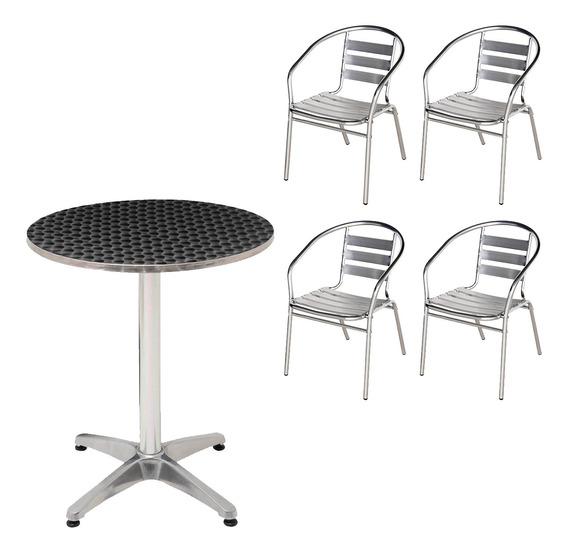 Kit Mesa Redonda 60cm + 4 Cadeiras Jardim Casa Alumínio Mor