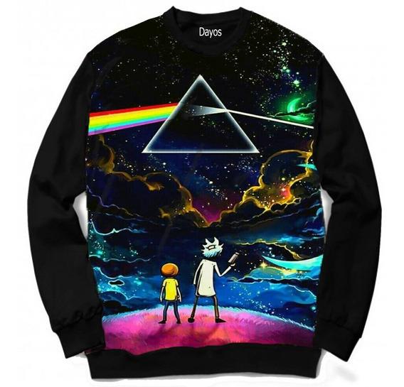 Casaco Moletom Camiseta Rick And Morty Desenho Pink Floyd