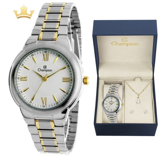 Relógio Champion Feminino Kit Ch22984w Com Nf