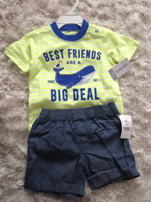 Carters 2 Pçs Camiseta + Short Menino Bebe - Envio Rapido