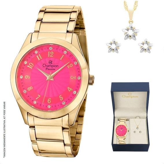 Relógio Champion Feminino Dourado Rosa + Colar E Brincos