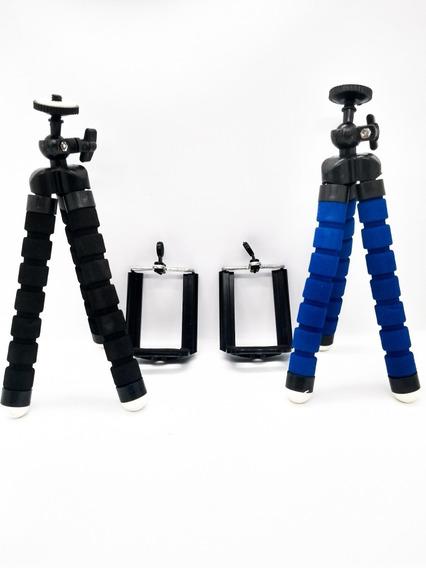 Kit 10 Mini Tripé Ajustável E Flexível Para Celular