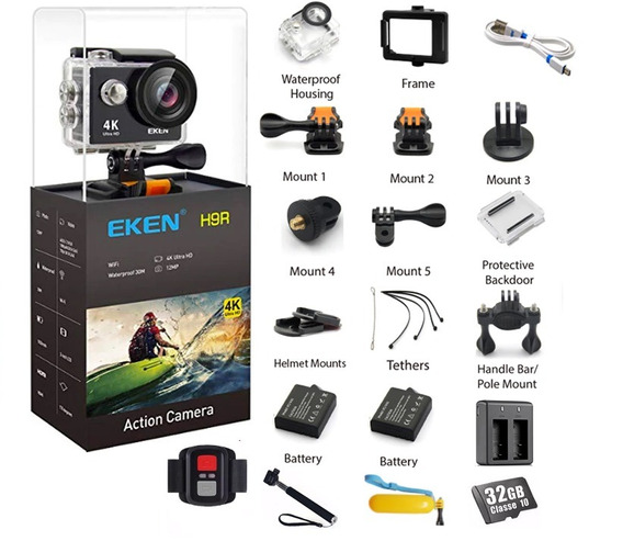 Camera Eken H9r 4k Original + Sd 32gb + Self + Bat Ext.