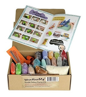 Needle Felting Starter Kit De Woolbuddy 16 Colores De Lana F