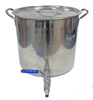Olla Acero Inox 304 Cerveza Artesanal Con Valvula 50 Litros