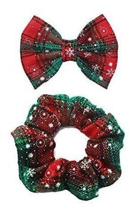 Imagen 1 de 5 de Navidad De La Tela Escocesa De Los Copos De Nieve Hairclips