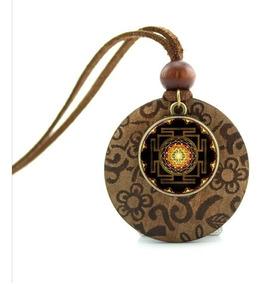 Colar Geometria Sagrada Budista Espiritual Sri Yantra
