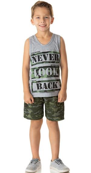 Roupa Infantil Conjunto Camiseta Regata E Bermuda Camuflada
