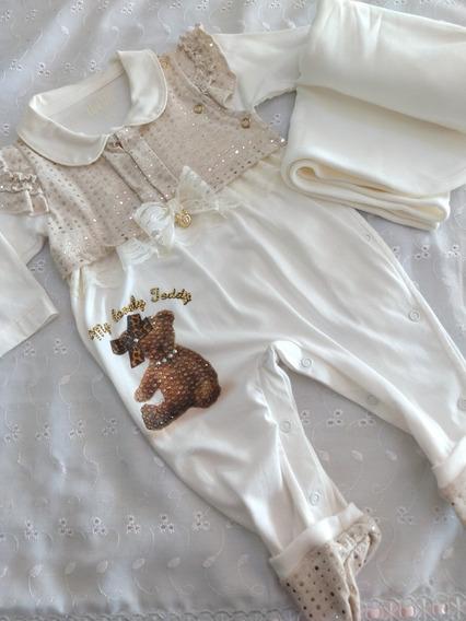 Saída Maternidade Bebê Menina Pronta Entrega - Frete Grátis