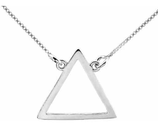 Gargantilha Colar Triângulo Elemento Fogo Prata 925 + Brinde