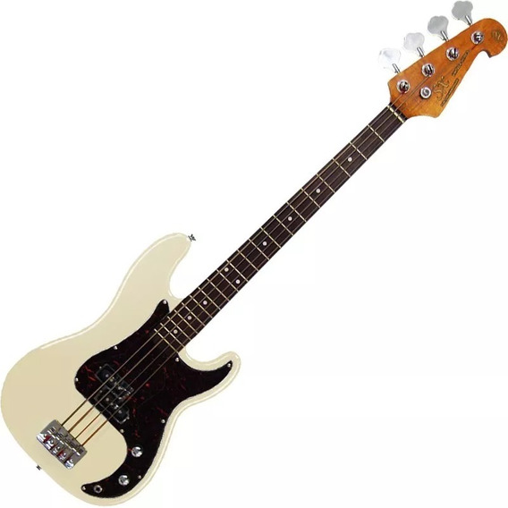 Contra Baixo Sx 4 Cordas Precision Bass Spb62 Branco C/ Bag