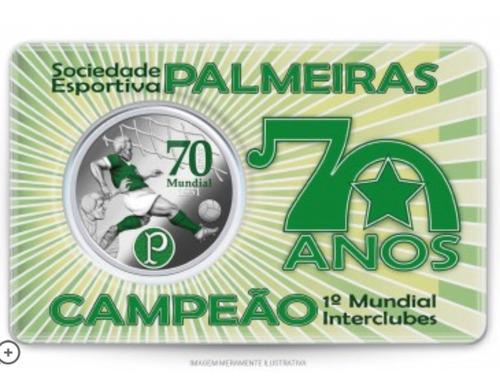 Imagem 1 de 5 de Medalha 70 Anos Do Mundial Do Palmeiras Cupro-nickel C.m.b.
