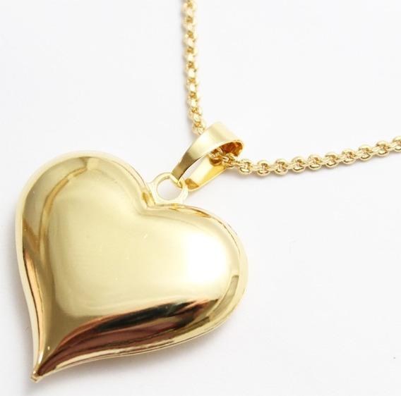 Pingente Coração Grande Folheado A Ouro 18k
