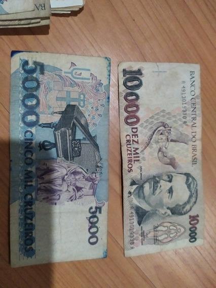 Lote 10 Notas Antigas 10.000 Cruzeiros 5.000