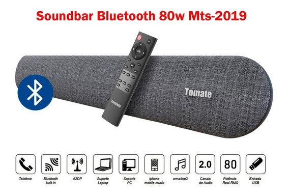 Caixa Som Amplificada Bluetooth 80w Tv Cel Música Mp3 Tomate