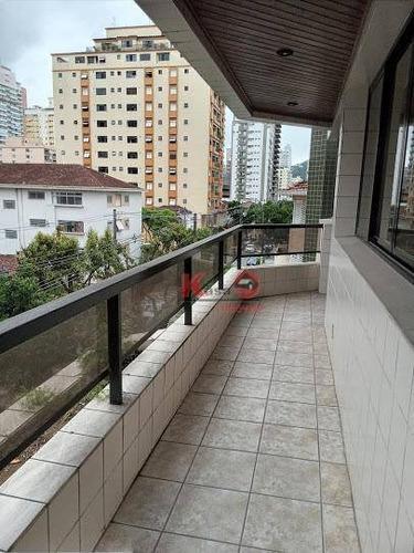 Apartamento Com 3 Dormitórios À Venda, 189 M² Por R$ 890.000,00 - Gonzaga - Santos/sp - Ap10139