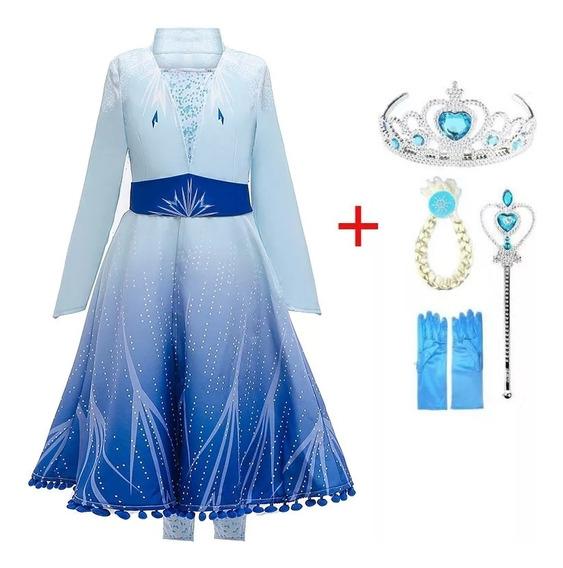 Disfraz Frozen 2 Ii Elsa Vestido Trenza Guantes 8 Piezas
