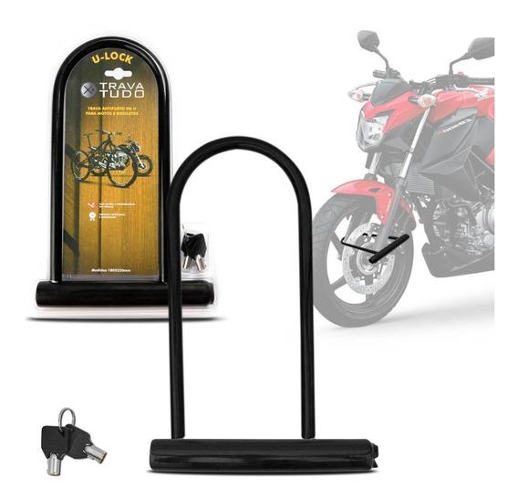 Trava U-lock Bicicleta Moto Universal Segurança Antifurto
